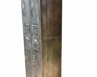vintage industrial locker brushed metal locker with with four cabinets