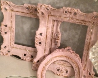 3 Nursery VINTAGE wall frames, French Farmhouse, chalk painted pale pink