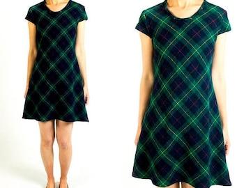 SPRING SALE Vintage 1960s Hunter Green Tartan Plaid Wool Flannel Short Sleeve A-Line Swingy T-Shirt Mini Dress Size Xs Extra Small