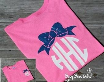 Girl's Glitter Monogram Bow Shirt * Glitter Monogram Shirt * Bow Monogram Shirt * Monogram Shirt * Girls Glitter Monogram * Short Sleeve