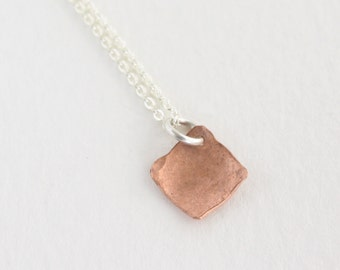 Tiny Copper Necklace, Small Geometric Necklace, Delicate Diamond Shaped Necklace : CdiNsHD