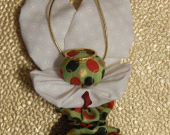Green, Red and Gold Christmas Yo Yo Angel Ornament