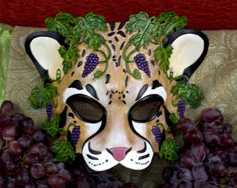 Greek God of Wine:  Dionysus Leather Leopard Mask
