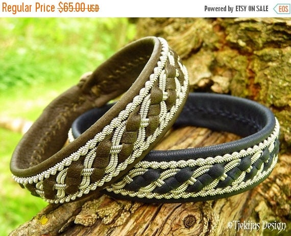 FAFNIR Norse Bracelet Sami Lapland Viking Cuff in Olive Reindeer Leather, Tin Wire Braids, Antler Button Custom Handcrafted Nordic Folklore