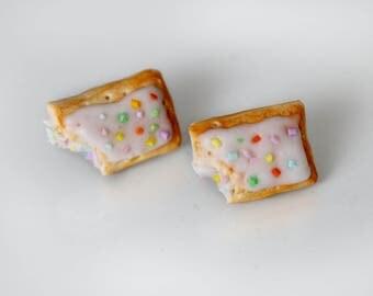 Confetti Pop tart Earrings -  Frosted Pie Earrings -  Polymer Clay Food Earrings - Gift for Her- Miniature Food Earrings - Gift under 10 -