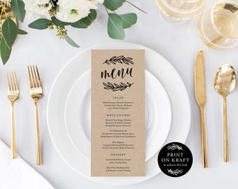 Editable Template - Instant Download Rustic Dinner Menu available in Two Sizes