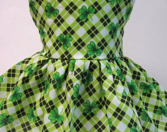 Argyle Green Clovers, St. Patrick's Day Sleeveless Dress for Your American Girl Doll