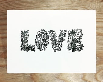 Letterpress Botanical Watercolor Postcards