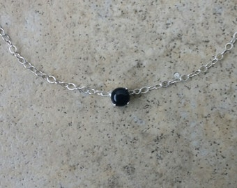 Onyx choker necklace - 4mm Onyx choker necklace in Sterling Silver or Gold