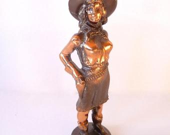 Vintage Cast Metal Bronze Midcentury Cowgirl Figurine Statue