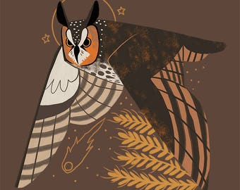 Long Eared Owl Familiar CROSS STITCH PATTERN Original Art by Callupish