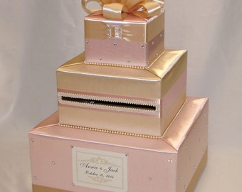 Blush Pink and Champagne Wedding Card Box-Rhinestone accents