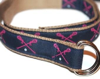 """Women's Lacrosse Belt Pink Lacrosse Belt Ladies Navy Blue D Ring 1"""" Wide Ladies Ribbon Belt Teen Lax Belt Girls LAX Coach Gift Grey D Ring"""