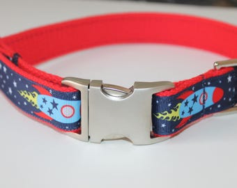 Rocket Ship Dog Collars Science Dog Collar and Leash Large Dog Collar Boy Pet Collar OUter Space Collar Teacher Dog Collar rocket Dog Collar