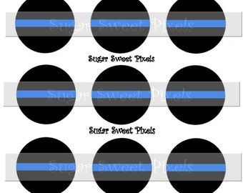 INSTANT DOWNLOAD Blank  Thin Blue Line  Inspired 1 inch Circle Bottlecap Images 4x6 sheet
