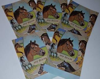 5 horse book plates color illustrations vintage unused paper labels ephemera paper art supplies