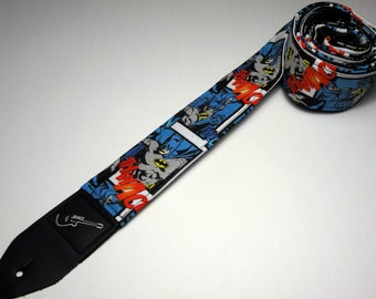 Handmade comic book super hero guitar strap with double padding - This is NOT a licensed product