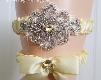 SALE Yellow Wedding Garter Set/  Yellow Crystal Bridal Garter Set/   Wedding Garter Belt /