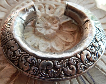 Tibetan REPOUSSE Vintage Bangle; Unique Tribal Designs; Handmade In Nepal; Tribal Cuff Jewellery; Silver Alloy; Big Chunky Statement Piece.