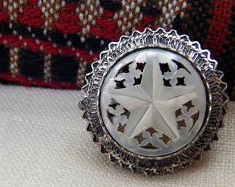 HAND Carved Mother Of Pearl Star Brooch; Intricate Silver Design Work; Star MOP With Butterflies; Pin And Spring Ring; Hallmarked Sterling.