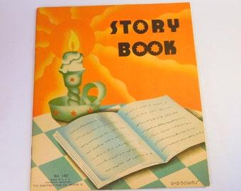 Vintage Children's Book / D D Downs HAPPYKINS & POLKA DOT Cat Story Book / Saalfield Publishing, Akron, Ohio U.S.A. / 1930's (1936) Art Deco