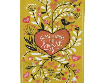 Home is Where the Heart Is Tea Towel, Gift Idea for Her, Home Sweet Home, Home Tea Towel, Kitchen Towel, Kitchen Dish Cloth, Kitchen Linen