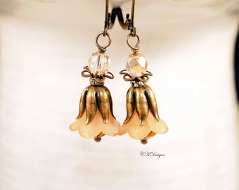 Lucite Flower Earrings, Victorian Style Earrings, Timeless earrings, Dangle Pierced of Clip-onEarrings. OOAK Handmade Earrings. CKDesigns.us