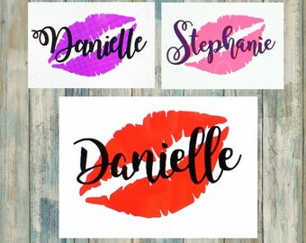 Lips & Name Vinyl Decal Sticker-Any Word Decal-Custom Decal-Personalized Vinyl Decal-laptop,Yeti,Car,Phone,Tablet-Label-60+ color choices!