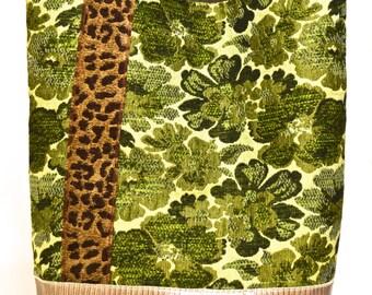 Large Tote Bag - Vintage Emerald Floral, Leopard Print and Vegan Leather