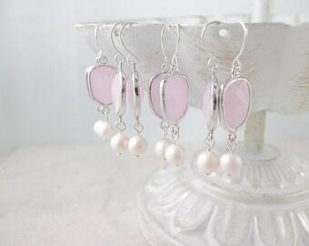 Rose Quartz Pink Swarovski Pearl Dangle Earrings Personalized Bridesmaids Gift Wedding