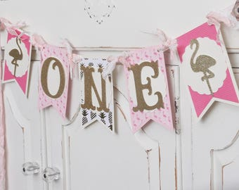 "Flamingo ""ONE"" Birthday Banner ~ Smash Cake Photo Prop ~ Decoration ~ Pink & Gold Chic Decor"