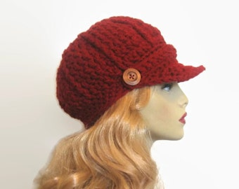 Red Knit Newsboy Hat Red Crochet News Boy Maroon News Boy Brick Red Hat with Brim Red Crochet Hat with Visor Red Crochet red Crochet newsboy