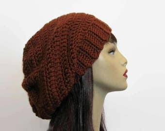Brown Slouch Hat Rust Brown Beanie Sienna Brown Beanie Crochet Slouchy Hat Brown Knit Slouch Tam Oversized Beanie Brown Slouchy Beanie
