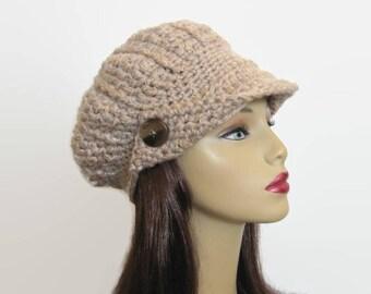 Oatmeal Newsboy Hat Beige visor Cap with Visor Lightweight  Newsboy Tweed Newsboy Hat knit Newsboy Hat with Visor and Button Tweed Cap
