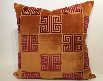 Burnt ORANGE and Fuschia pink cushion cover in Osborne & Little ANGOLO Versace inspired Greek key motif velvet fabric by MoGirl DESIGNS.