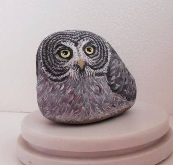 Painted River Stone Owl Feather Bird .River rock Artwork Paperweight Home Decor. ready to ship