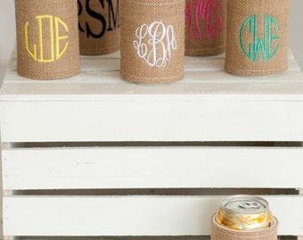 Monogrammed Can Jacket ~ Monogrammed Burlap Can Wrap ~ Personalized Drink Holder ~ Burlap Drink Wrap ~ blank or personalized
