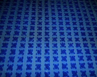 "Rare Vantona Dark BLUE ROSEBUDS Vintage Chenille Bedspread Fabric - Made in Great Britain - 18"" X 25"""