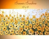 "SALE XL Oil Yellow floral painting""Summer Sunshine"" Abstract Original Modern 48"" palette knife impasto oil painting by Nicolette Vaughan Hor"