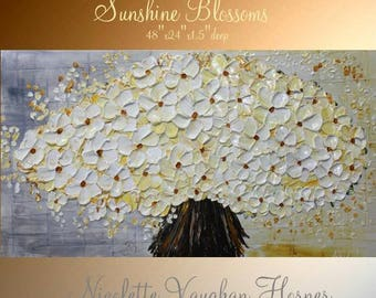 "XLarge ""Sunshine Blossoms""  Contemporary Modern  Abstract Original 48"" palette knife oil  impasto oil painting by Nicolette Vaughan Horner"