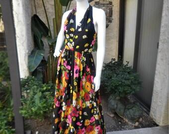Vintage 1970's Lilli Diamond Black Halter Dress with Bright Floral Print - Size 4/6