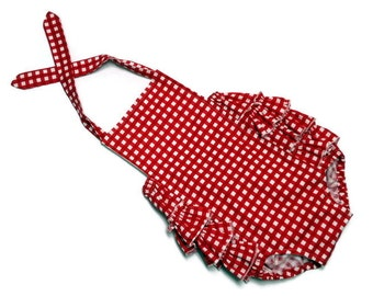 Baby Girl Ruffle Sunsuit Romper Infant Toddler Red Gingham Size 0 - 3 month, 3 - 6 month, 6 - 12 month, 12 - 18 month, 18 - 24 month