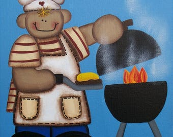 """DIY, Needlepoint Canvas 14 or 18 count, By """"Me"""" Lori Everett, Men Art, Whimsical Art, Folk Art, Outside Grilling, King Of The Grill, Fire"""