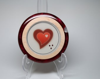 Artistic Wooden Bowl with Heart & Red Pearl Resin Inlay Wedding Housewarming Valentine's Day Gift of Love Collectible Table Shelf Deco Art