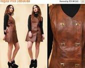 25% OFF 1DAY SALE 60s 70s Vtg Genuine Leather Key Lock Button Micro Mini Sleeveless Dress / Mod Boho Garage Hippie Jumper Go Go / Small
