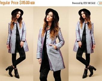 60s Vtg Silk HOLOGRAM Iridescent Blazer Coat / Trench FUTURiSTIC Avant Garde Structured Jacket / Lavender- Mint Club Kid Kawaii Mod
