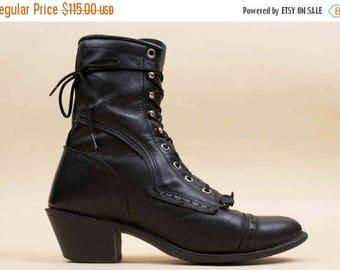 25% OFF 80s Vtg Gorgeous Black Genuine LEATHER Western Lace Up Riding Ankle Boots / Roper Removable Fringe BIKER Boho Grunge 8 Eu 38.5 39