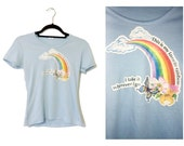 Vintage 80s Baby Blue Rainbow T Shirt Small Medium