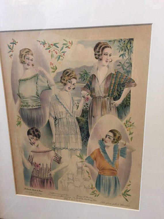 Pair of Framed Paris Ladies Fashion Plates 1930s Les Grandes Modes