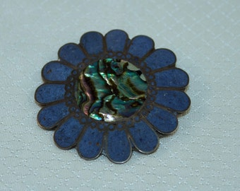 Taxco Paua Shell, Lapis and Sterling Sun Brooch/Pendant
